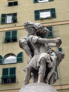 piazza Bandiera Enea ed il padre Anchise e il figlioletto Ascanio  in fuga da Troia Francesco Baratta 1726
